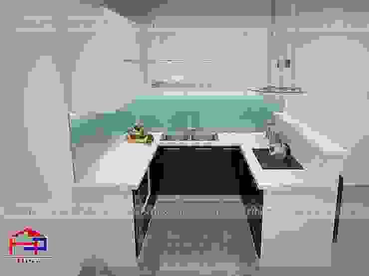 Ảnh thiết kế 3D tủ bếp acrylic nhà chị Thùy - Cầu Diễn Nội thất Hpro KitchenCabinets & shelves Gỗ Multicolored
