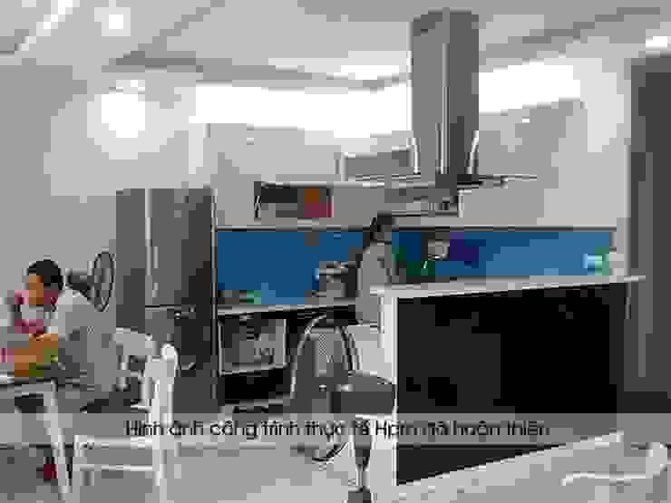 Ảnh thực tế bộ tủ bếp acrylic nhà chị Thùy - Cầu Diễn Nội thất Hpro KitchenCabinets & shelves Gỗ Multicolored