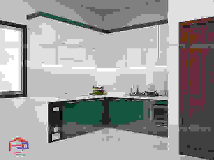 Ảnh thiết kế 3D bộ tủ bếp acrylic nhà anh Quỳnh - Nam Định Nội thất Hpro KitchenCabinets & shelves Gỗ Multicolored