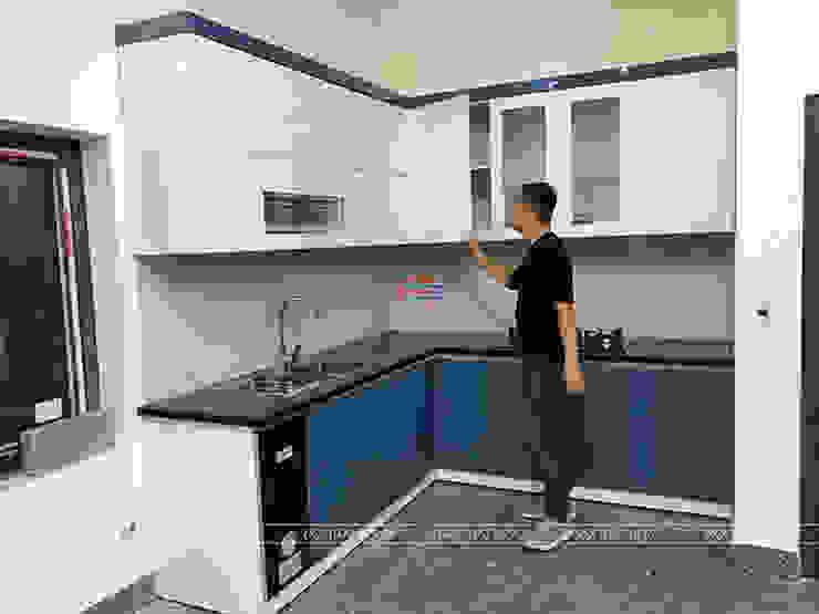 Hình ảnh thực tế bộ tủ bếp acrylic nhà anh Quỳnh Nội thất Hpro KitchenCabinets & shelves Gỗ Multicolored