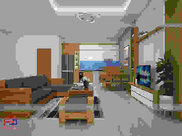 Ảnh thiết kế 3D tủ bếp laminate và nội thất phòng khách của nhà cô Hiền - Thái Nguyên Nội thất Hpro KitchenCabinets & shelves Gỗ Multicolored