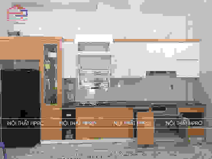 Hình ảnh thực tế bộ tủ bếp laminate nhà cô Hiền - Thái Nguyên Nội thất Hpro KitchenCabinets & shelves Gỗ Multicolored