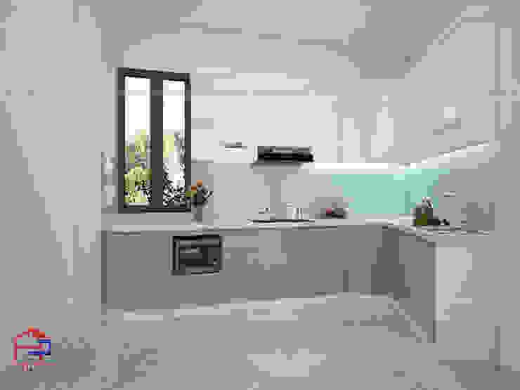 Ảnh thiết kế 3D bộ tủ bếp acrylic nhà chị Thùy - Trần Bình Nội thất Hpro KitchenCabinets & shelves Gỗ Multicolored