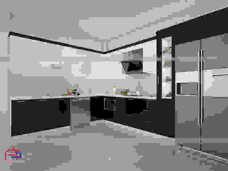 Mẫu thiết kế nhà bếp đẹp chữ L nhà chị Phương Nội thất Hpro KitchenCabinets & shelves Gỗ Multicolored