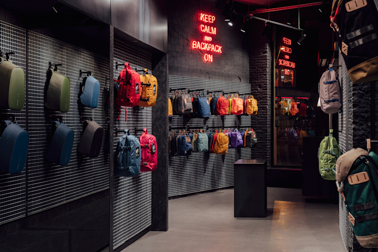 CATBAG concept store of urban backpacks - Counter Studioapart Interior & Product design Barcelona Offices & stores Iron/Steel Grey