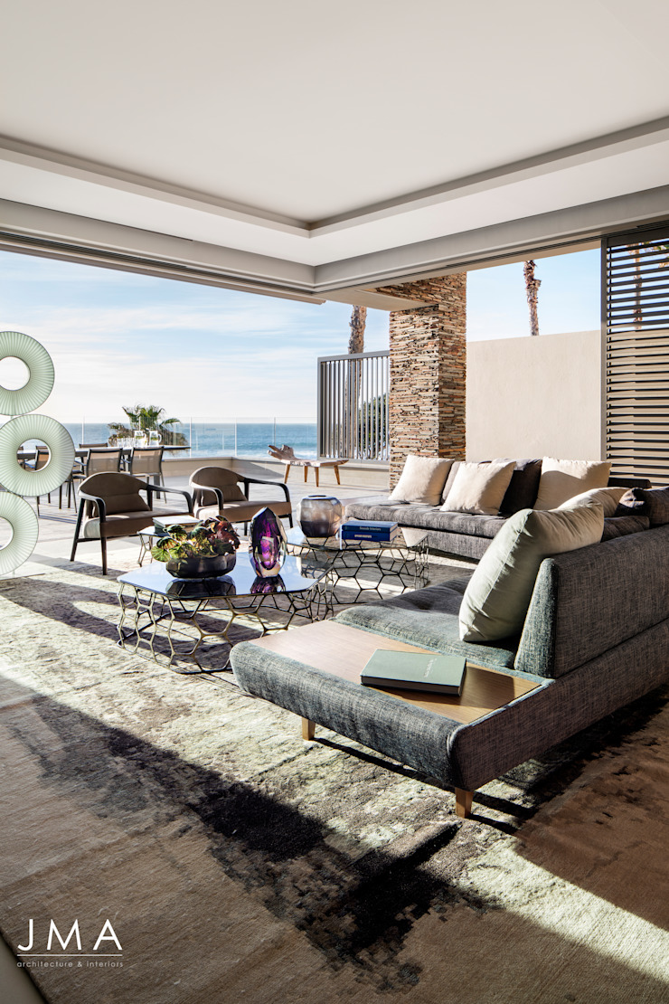 Connected Atlantic Living - Living Area with Views Modern living room by Jenny Mills Architects Modern