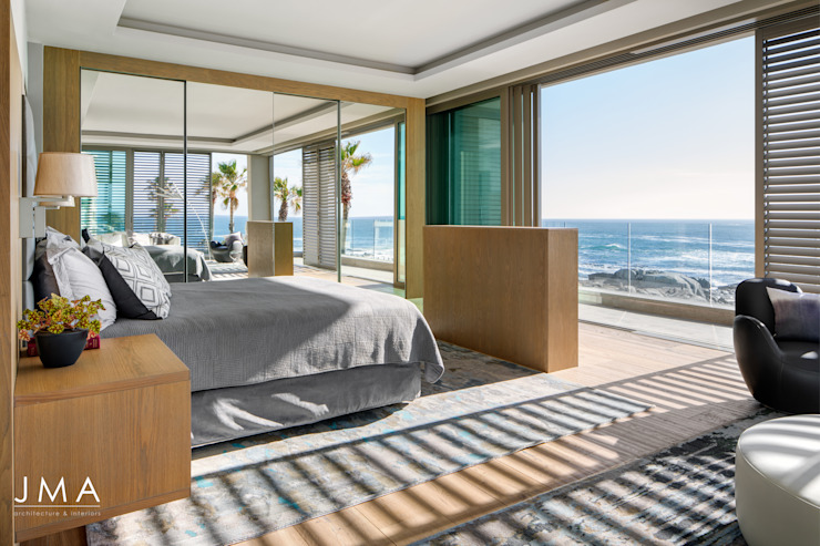 Connected Atlantic Living - Main Bedroom Modern style bedroom by Jenny Mills Architects Modern