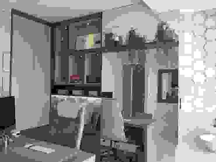 Detalhe da estante. Clínicas modernas por Marcelle de Castro - arquitetura|interiores Moderno
