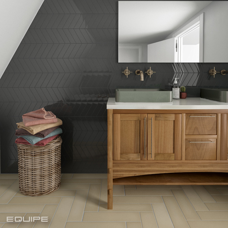 Equipe Ceramicas Modern bathroom Tiles Grey