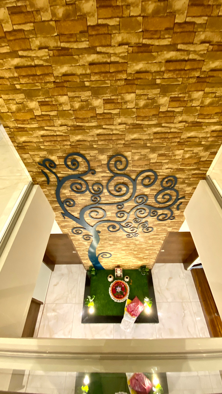 Bungalow for Dr. Shashidhar Kattimani at Ghatprabha, Karnataka A B Design Studio Eclectic style corridor, hallway & stairs