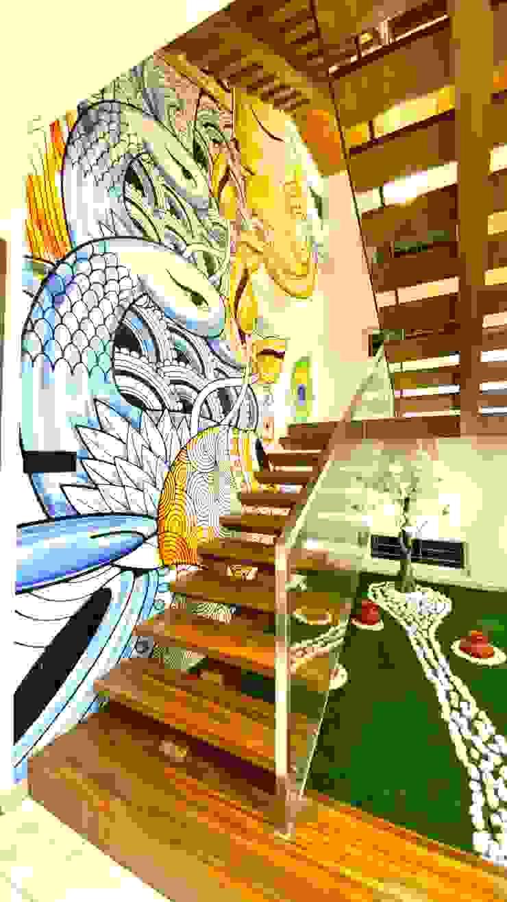 Bungalow for Dr. Shashidhar Kattimani at Ghatprabha, Karnataka A B Design Studio Stairs