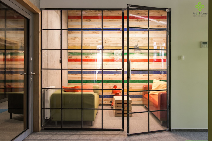 Raw Finish Crittall Style Office Screen Urban Steel Designs Industrial style offices & stores Metal