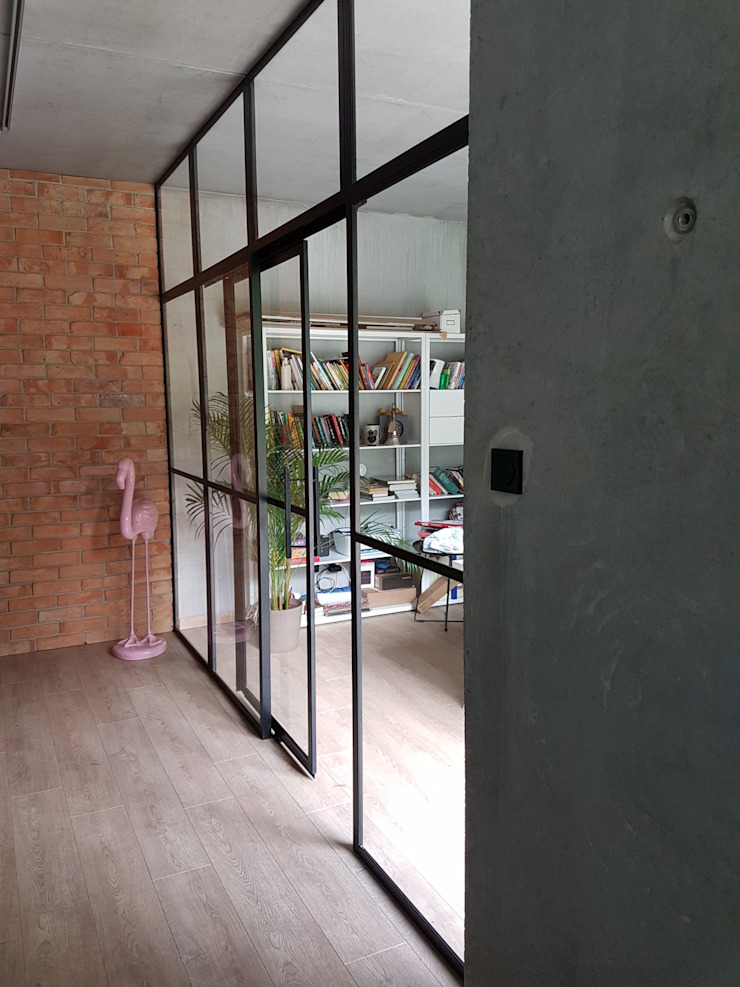 Crittall-Style Sliding doors and screen. Urban Steel Designs ประตู โลหะ Black