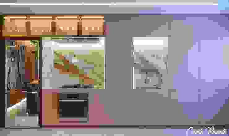 Cozinha Camila Pimenta   Arquitetura + Interiores Armários e bancadas de cozinha Madeira Rosa
