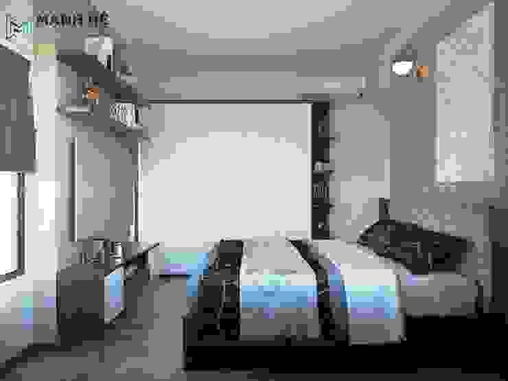 Kệ tivi treo tường có hộc tủ kín 2 bên và kệ hở ngay giữa Phòng ngủ phong cách hiện đại bởi Công ty TNHH Nội Thất Mạnh Hệ Hiện đại