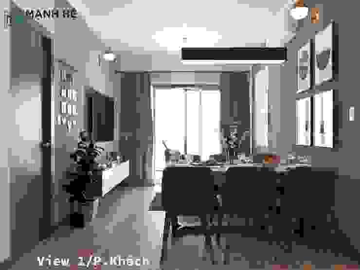 Bộ bàn ăn 6 ghế đặt giữa phòng khách và phòng bếp bởi Công ty TNHH Nội Thất Mạnh Hệ Hiện đại