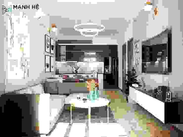 Kệ tivi treo tường phòng khách nhỏ gọn bởi Công ty TNHH Nội Thất Mạnh Hệ Hiện đại