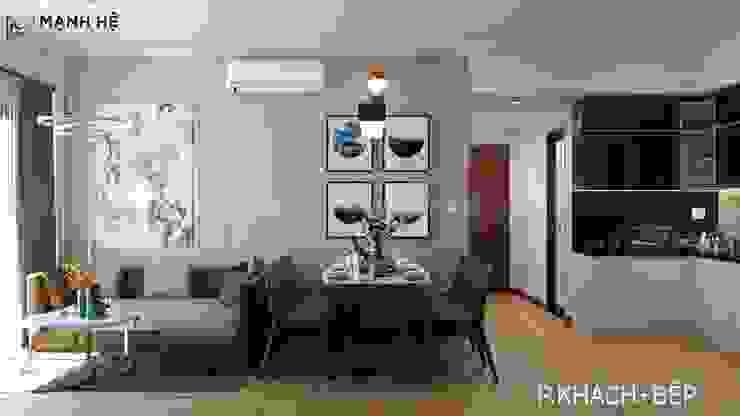 Nội thất phòng khách bếp cho chung cư nhỏ trở nên tiện nghi bởi Công ty TNHH Nội Thất Mạnh Hệ Hiện đại