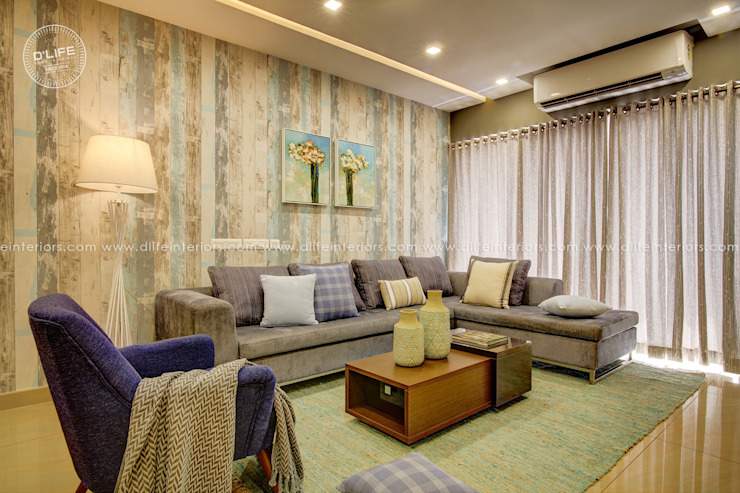 Customized Living Room Interiors in Premium Finish DLIFE Home Interiors Modern living room Blue