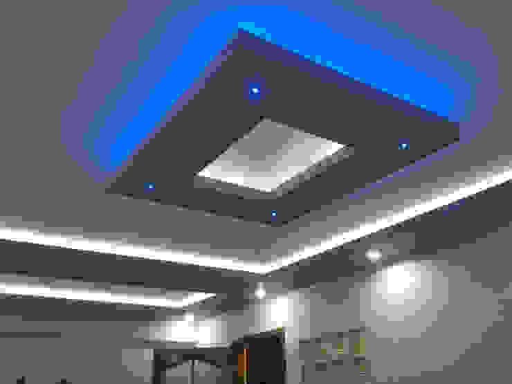 Asma tavan modelleri Mavi ve beyaz spot uygulama Gökçe Yapı Modern Duvar & Zemin Kireçtaşı Mavi