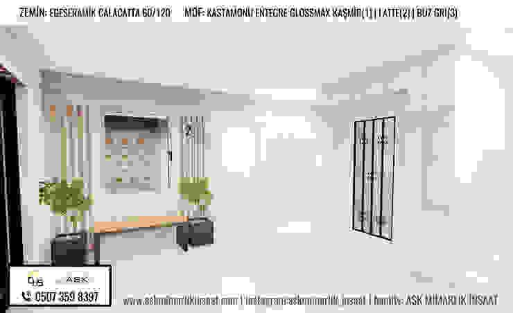 ASK MİMARLIK İNŞAAT – Apartman Girişi İç Kısım Alternatifi: modern tarz , Modern Orta Yoğunlukta Lifli Levha