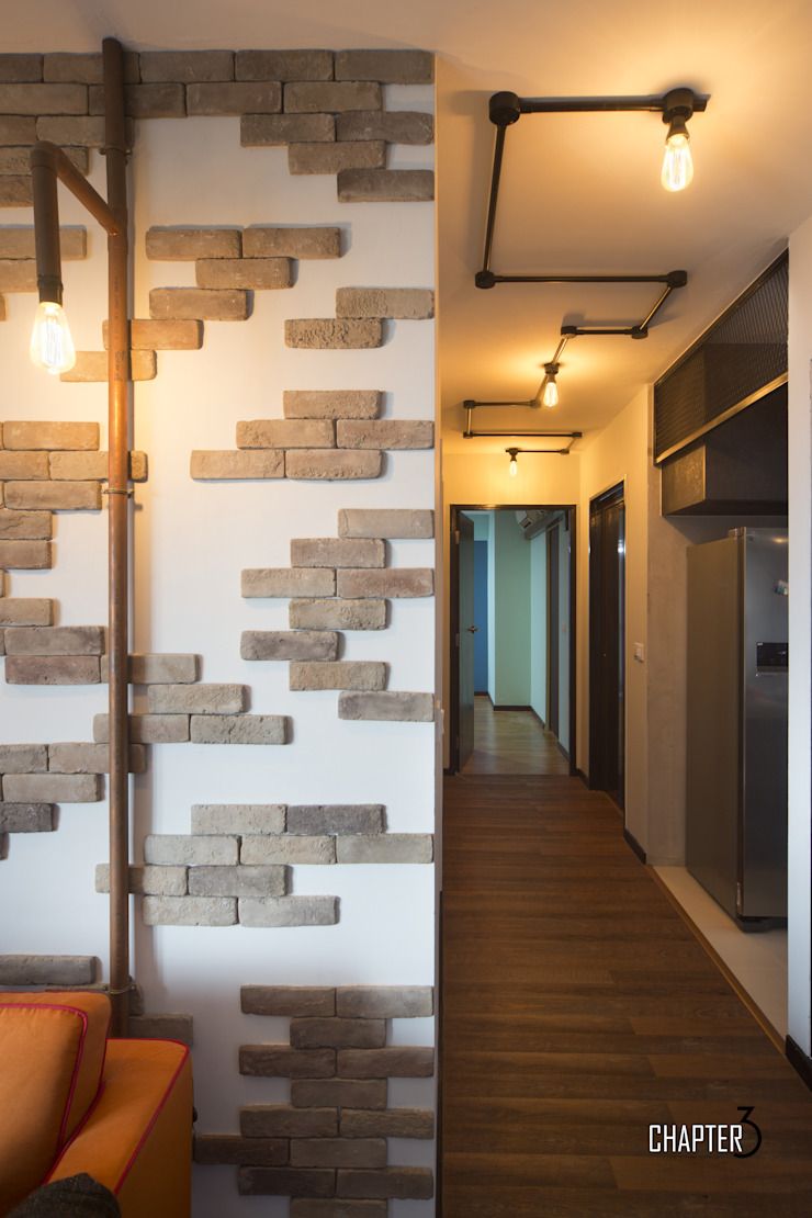 Project 4Room BTO Dawson <q>Urban Industrial</q> Industrial style corridor, hallway and stairs by Chapter 3 Interior Design Industrial