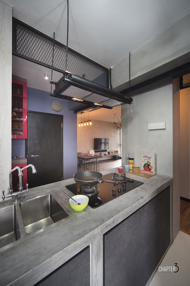 Project 4Room BTO Dawson <q>Urban Industrial</q> by Chapter 3 Interior Design Industrial