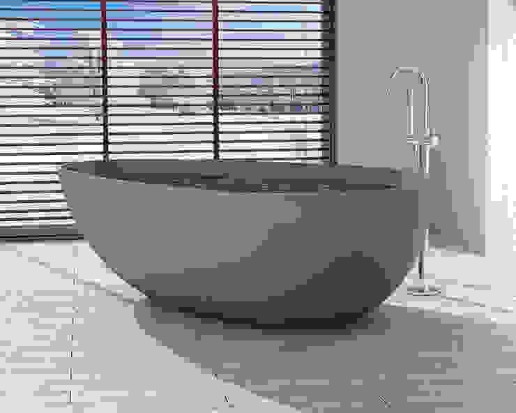 Freistehende Mineralguss Badewanne BW-01-L in grau von Badeloft GmbH - Hersteller von Badewannen und Waschbecken in Berlin