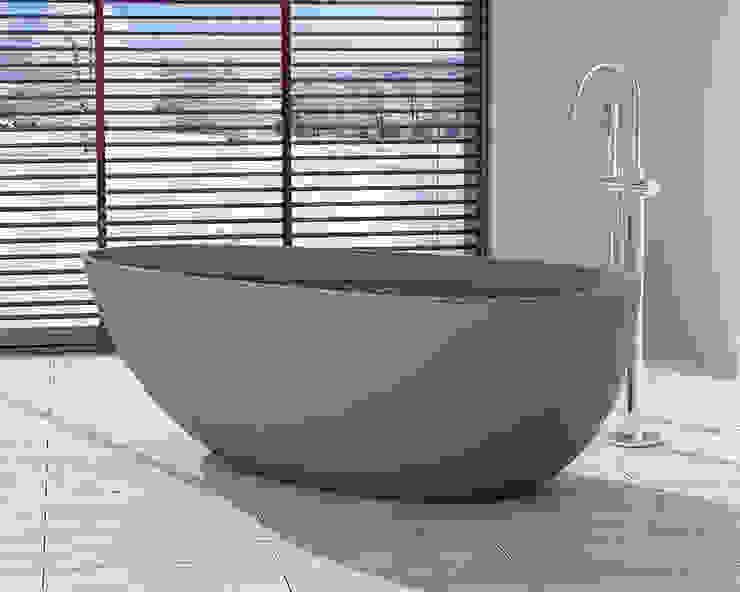 Freistehende Mineralguss Badewanne BW-01-XL in grau von Badeloft GmbH - Hersteller von Badewannen und Waschbecken in Berlin