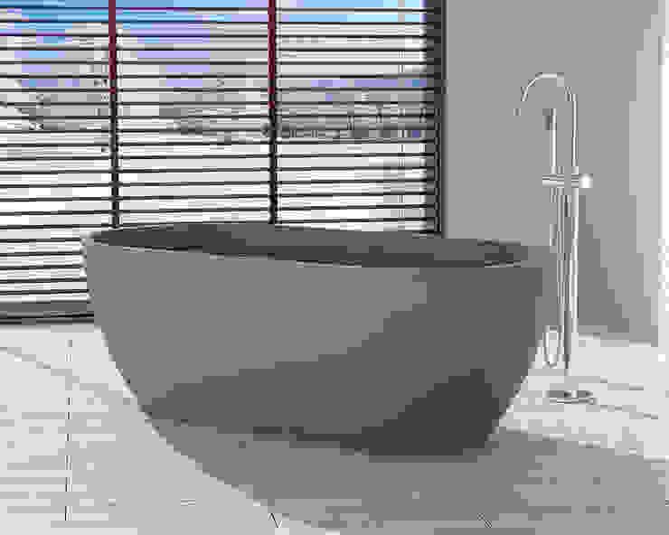 Freistehende Mineralguss Badewanne BW-02-XL in grau von Badeloft GmbH - Hersteller von Badewannen und Waschbecken in Berlin