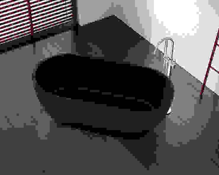 Freistehende Mineralguss Badewanne BW-02-L in schwarz von Badeloft GmbH - Hersteller von Badewannen und Waschbecken in Berlin