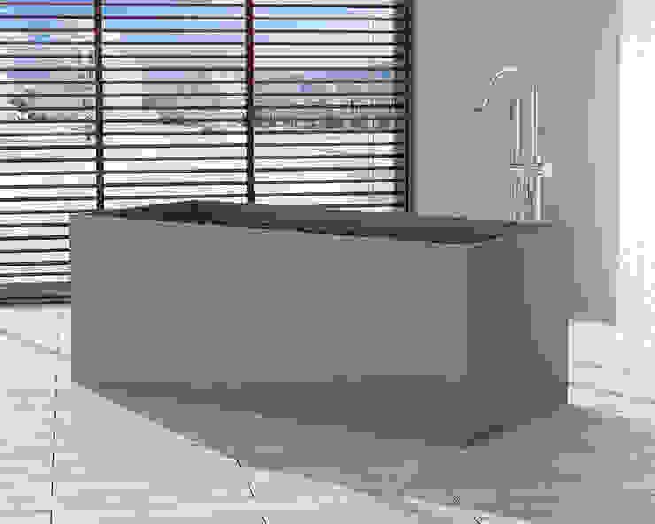 Freistehende Mineralguss Badewanne BW-06-XL in grau von Badeloft GmbH - Hersteller von Badewannen und Waschbecken in Berlin