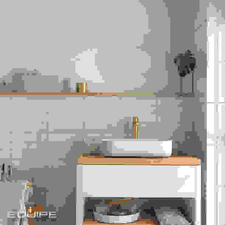 Masía Equipe Ceramicas Baños de estilo ecléctico Azulejos Beige