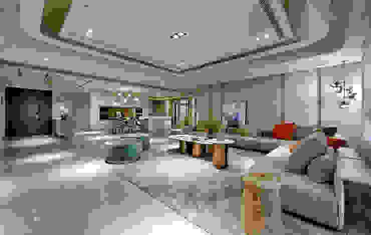 微光入色-療癒生命 共融法式 自然 新豪宅 现代客厅設計點子、靈感 & 圖片 根據 仝育室內裝修設計有限公司 現代風