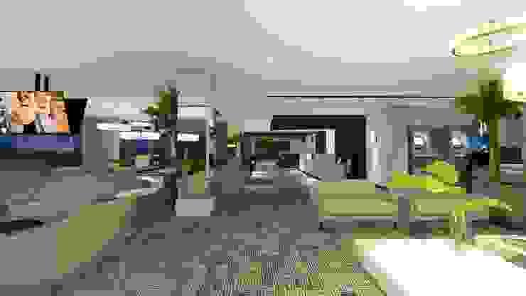 LOBBY | LIVING Arquitetura Sônia Beltrão & associados Hotéis modernos Concreto Cinza