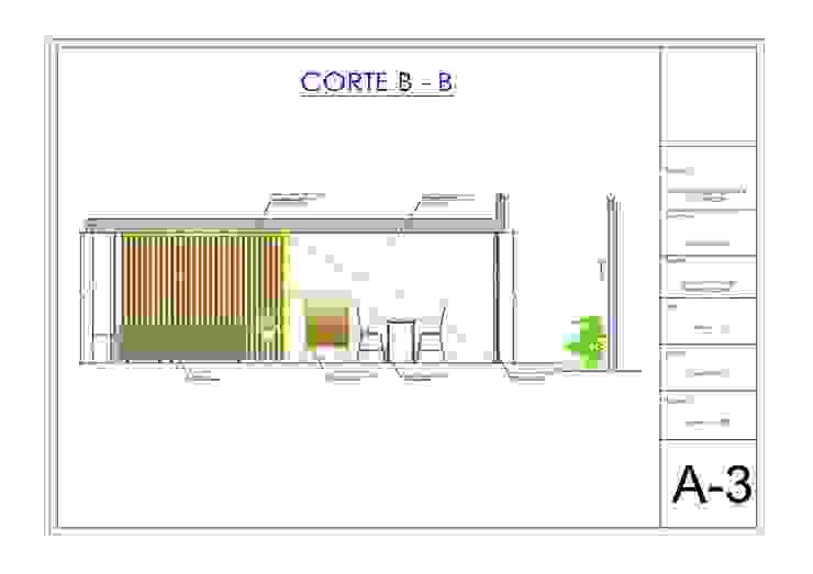 Plano de corte y elevación de sala comedor de Pamela Cerna Interiores Escandinavo