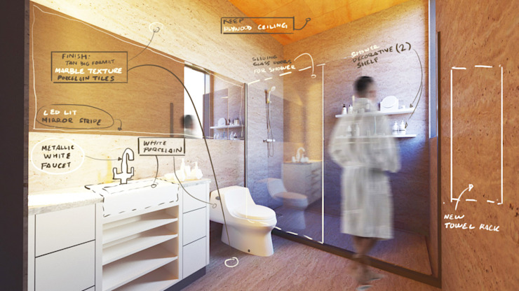 Propuesta para baño Baños de estilo moderno de Alexander Chivico & Architects Moderno Cerámico