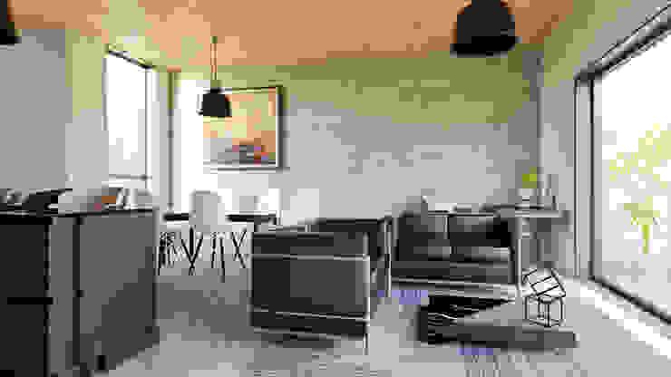 Espacios de sala, cocina y comedor Salas de estilo moderno de Alexander Chivico & Architects Moderno Concreto