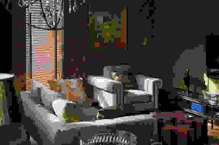 American classics in Kiev from Yury Zimenko Design Studio Design Studio Yuriy Zimenko Living room Wood Red