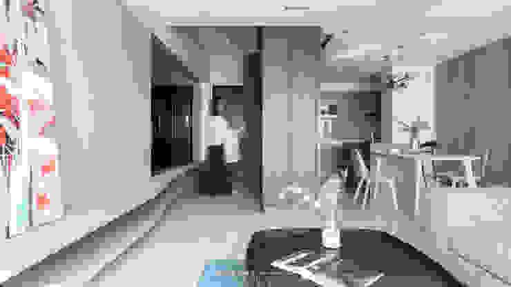 living area 現代風玄關、走廊與階梯 根據 湜湜空間設計 現代風 木頭 Wood effect