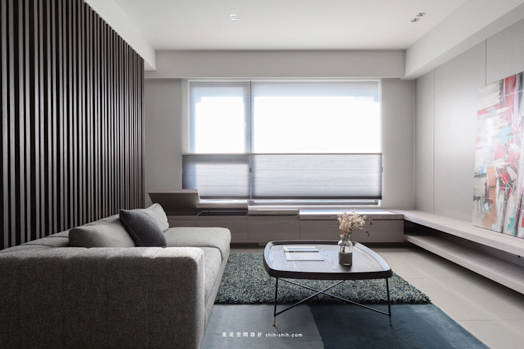 living area: 現代  by 湜湜空間設計, 現代風 木頭 Wood effect