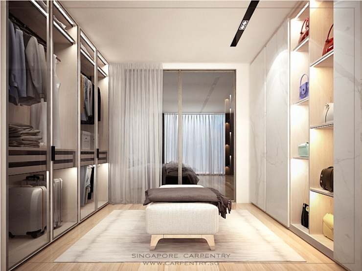 Ultra Luxurious Landed Home Modern dressing room by Singapore Carpentry Interior Design Pte Ltd Modern Wood Wood effect