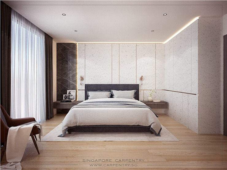 Ultra Luxurious Landed Home Modern style bedroom by Singapore Carpentry Interior Design Pte Ltd Modern Wood Wood effect