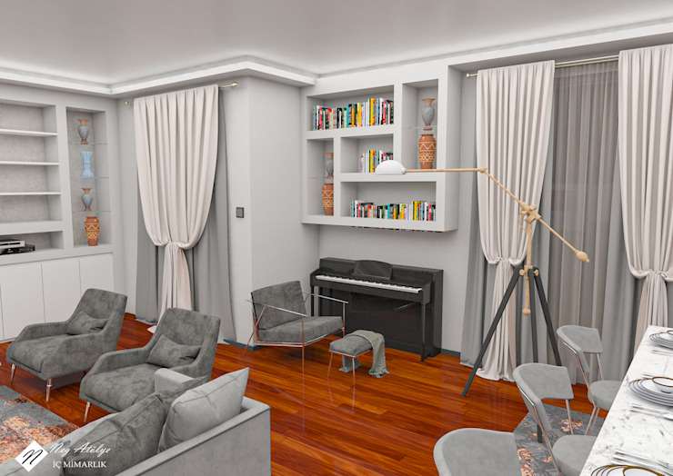 Salon Tasarım Minimalist Oturma Odası NEG ATÖLYE İÇ MİMARLIK Minimalist