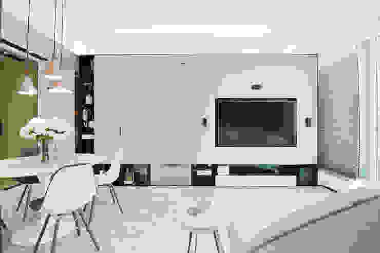 A Square Ltd Salones de estilo moderno Vidrio Blanco
