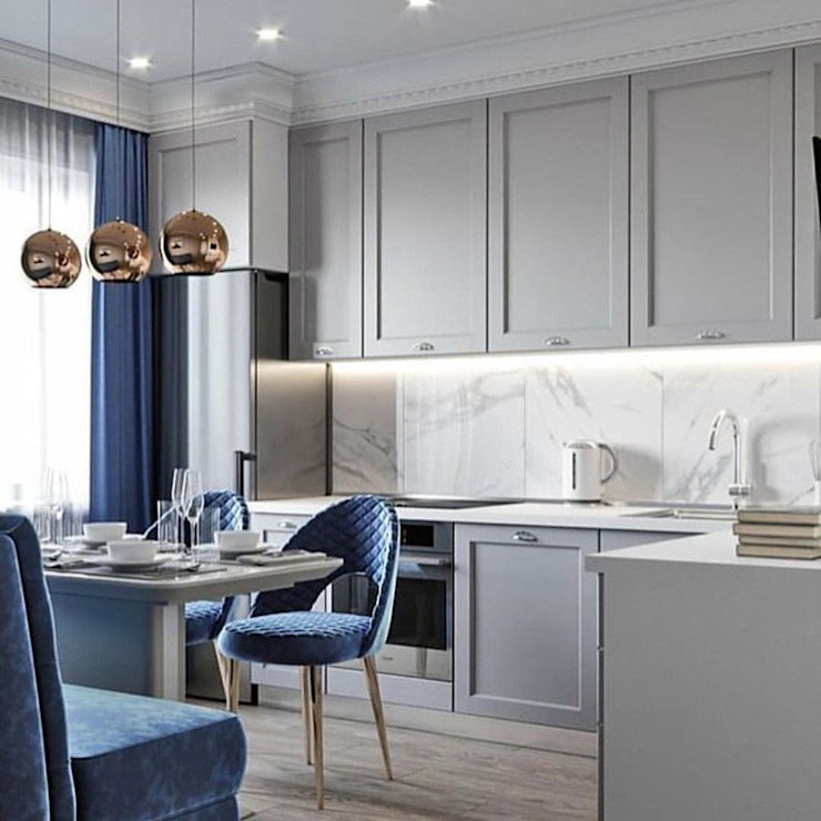 Dining room interior designs Luxe Interno Interior Design Company Modern dining room Wood Blue