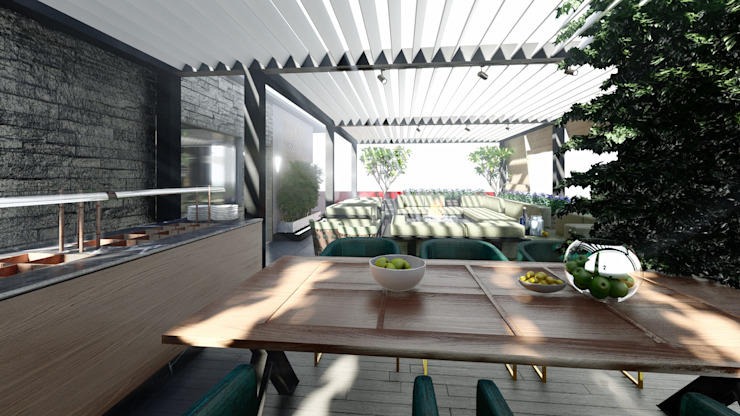 Luxury Villa At Chennai Aikaa Designs Modern balcony, veranda & terrace