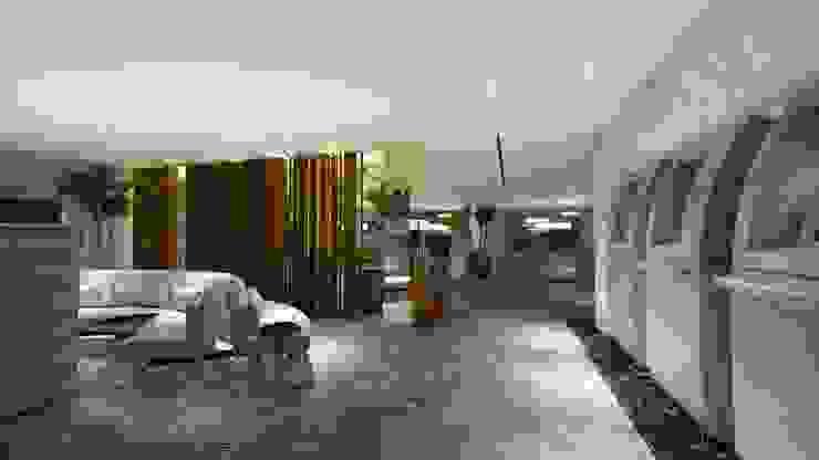 WORK LOUNGE | LOBBY | ATM Arquitetura Sônia Beltrão & associados Hotéis modernos MDF Efeito de madeira