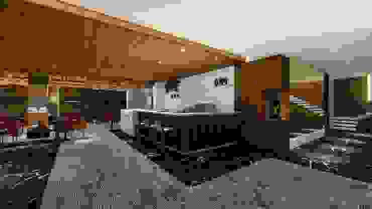 COFFEE | LOBBY Arquitetura Sônia Beltrão & associados Hotéis modernos MDF Efeito de madeira