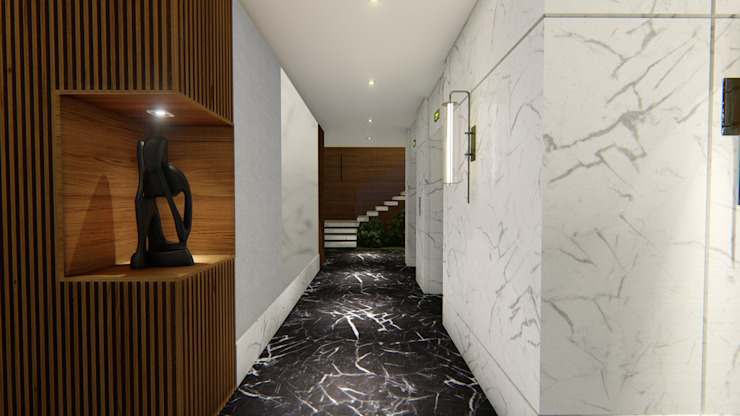 HALL ELEVADORES | LOBBY Arquitetura Sônia Beltrão & associados Hotéis modernos Mármore Preto